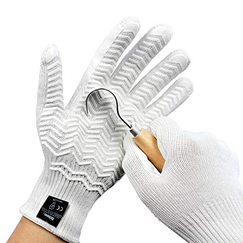 Schwer Level 6 Cut Resistant Gloves Food Grade Cutting gloves for Rotary Cutting Handling Glass Building with Rubber Grip Stripe