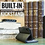 iPulse Journal for iPhone Xs Max Italian Full Grain Leather Case Handmade Flip Case for Apple iPhone Xs Max (2018) with Magnetic Closure - Black