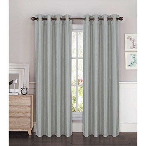 Window Elements Kim Faux Silk Extra Wide 108 x 96 in. Grommet Curtain Panel Pair, Silver - Silk Sheen Silk Treatment