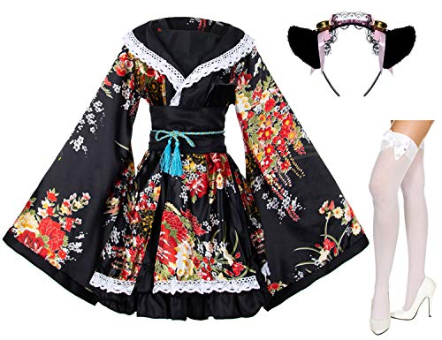 Japanese Anime Lolita Peony Sakura Flower Printing Kimono Costumes Fancy Dress Maid cat Headband Socks Set(DHF005) Black 2XL