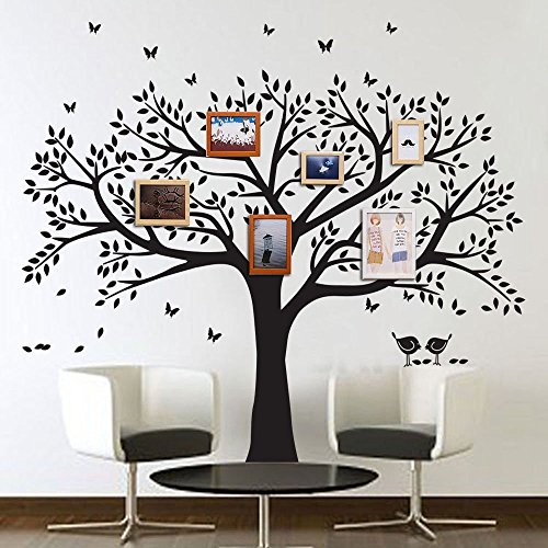 LSKOO Family Photo Frame Tree Wall Decals Family Tree Decal Living Room Home Decor (108'' Wide x 84'' Tall) (Black) by LSKOO (Image #1)