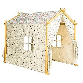 Amazon.com: Cotton Canvas Children Indoor Playhouse Tent Wooden ...