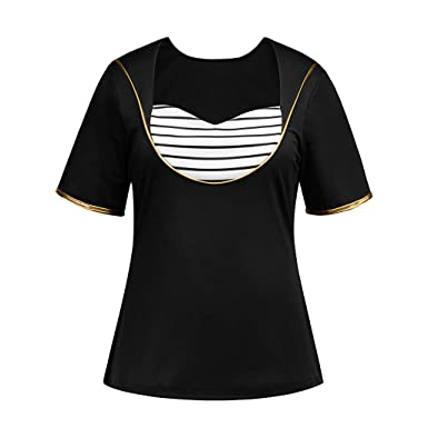 eb2216265 general3 Women Plus Size Shirts Ladies Casual Striped Short Sleeve O-Neck  Tops T Shirt
