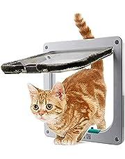4 Way Locking Cat Door, Lockable Cat Flap Doors for Cats and Small Dogs, Installing Easily, Suitable for Wooden, Brick, Metal Door and Window, Transparent