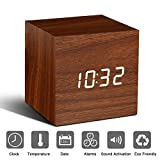 Bashley Wood Alarm Clock Digital LED Light Minimalist Mini Cube with Date and Temperature Sound Control Desk Alarm Clock for Travel, Kids Bedroom, Home, Office-Brown