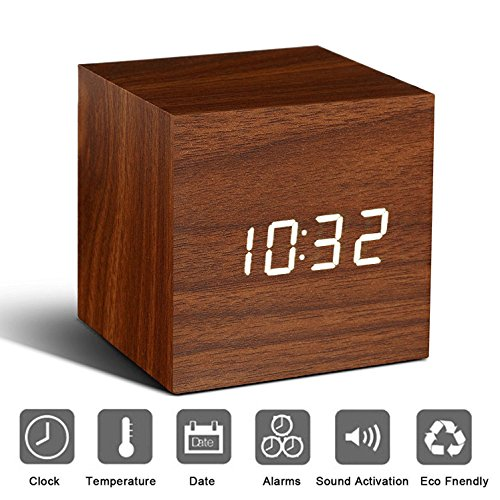 Bashley Wood Alarm Clock Digital LED Light Minimalist Mini Cube with Date and Temperature Sound Control Desk Alarm Clock for Travel, Kids Bedroom, Home, Office-Brown - Square Desk Clock