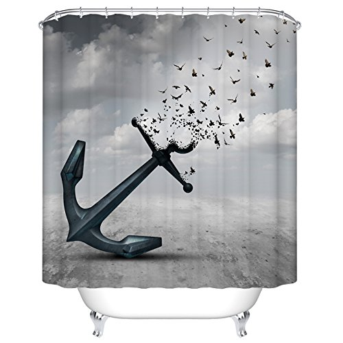 Black Anchor Shower Curtain