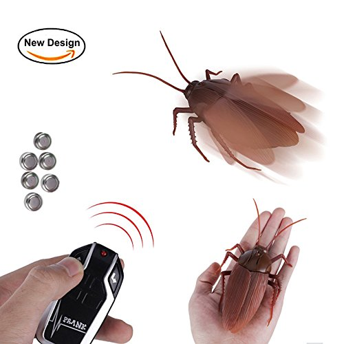 [New Design] Infrared Remote Control Cockroach Toy Novelty Fake Giant Roaches Look Real Prank Toys Insects Joke Trick Bugs for Kids Pet Toy (Fake Jumbo)