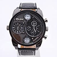 OULM brand new army dual time men's sports watch big Watch genuine brown leather Strap Dual Time Zone Wristwatch Round Dial Face