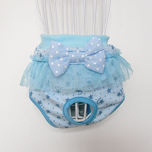 ROPALIA Puppy Pet Dog Bow Sanitary Physiological Lace Pants Underwear Diapers Blue S
