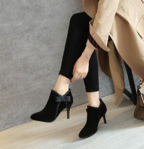 Mode Talons À Féminines Femmes Des Chaussures Pointu Mnii Hauts Frosted Black De Za5wzxnq
