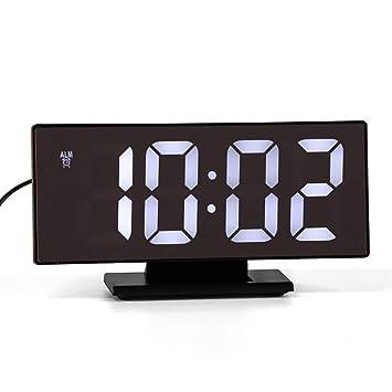 Prenine Reloj Despertador con Espejo LED, Despertador Digital, Pantalla Grande, Soporte de Escritorio, Reloj de Tiempo con Cable USB para Durmiente Pesado: ...