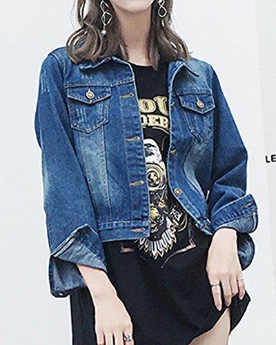 Mujer Cazadora Abrigo Jacket Larga Slim Manga Vaquera Chaquetas Denim Mezclilla De Fit Casual Azul Corto rxqYrnp0