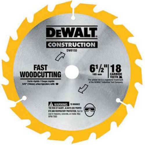 DEWALT 6-1/2 in. 18-Tooth Carbide Blade for Fast Cutting