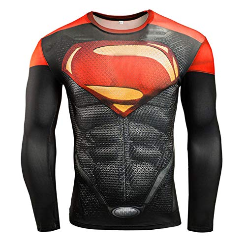 Fashion Red Compression Workouts T Shirt Long Sleeve Graphic Tee M]()