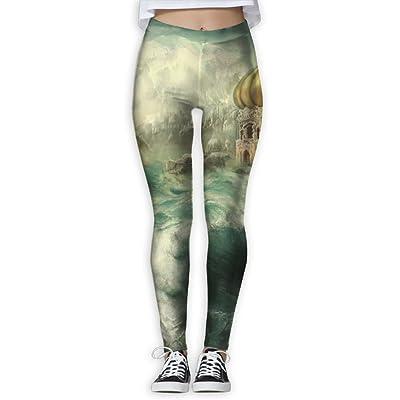 Ancient Castle Womens Printed Yoga Leggings Workout Slimming Pants Ankle Length Elastic