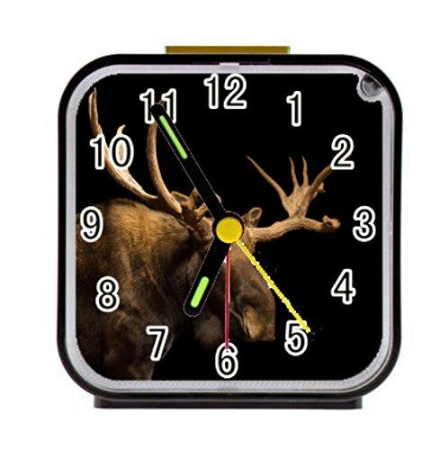 BrowneOLp Cabin Moose Personalized Custom Alarm Clock Children Bedroom Custom Square Black Alarm Clock ()