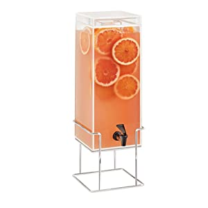 Mid-Century Collection – Square Beverage Dispenser – 8.125W x 9.75D x 25.75H, Brass Wire Base, Acrylic
