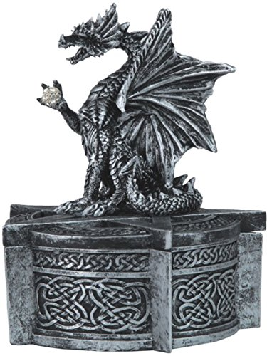 StealStreet SS-G-71484 Medieval Design Silver Trinket Box with Dragon Holding Ball, 5.25