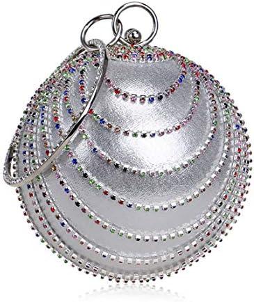 LKJASDHL 球形のイブニングバッグエレガントな繊細で輝く装飾女性のハンドバッグレディーバッグディナーバッグチェーン小ラウンドバッグ宴会ハンドバッグカジュアルフォーマルな日常のバッグ (色 : Silver)
