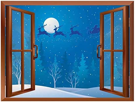 Made With Top Quality Majestic Artistry Cartoon Santa Claus and Reindeers Flying Over The Trees Peel and Stick Removable Window View Wall Sticker Wall Mural