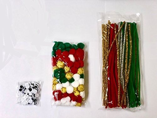 SUPER SALE!!! 300 Piece Christmas Theme Jumbo Craft Pack, - Pom-Pom and Chenille Kit (For Sale Tinsel)