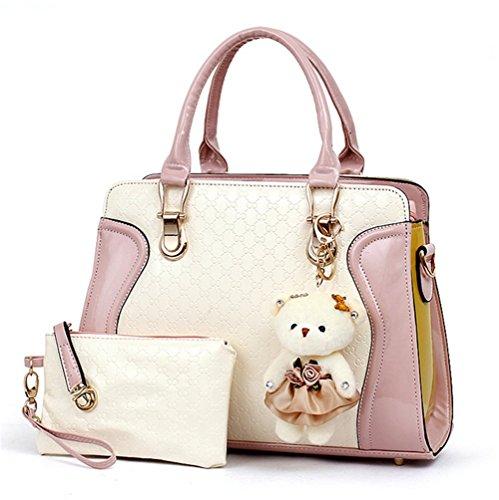 YAAGLE Splicing Handbags Simple Handbag Shoulder Bag Inclined Satchel For Girls and Women,2pcs