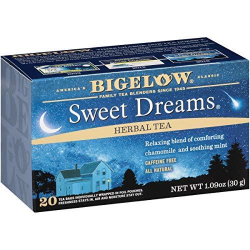 Bigelow Sweet Dreams Herbal Tea 20 Bags (Pack of 6), 120 Tea Bags Total. Caffeine-Free Individual Herbal Tisane Bags, for Hot Tea or Iced Tea, Drink Plain or Sweetened with Honey or Sugar-SET OF 2