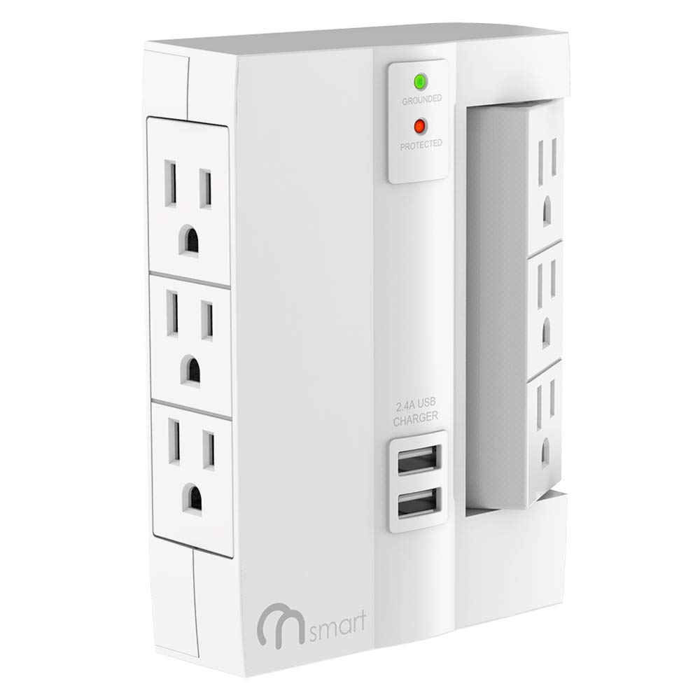 ON 6-Outlet Wall Tap Surge Protector- Top Power Strip w/6 Power Outlets + 2 USB Ports- Portable Wall-Mount Socket - Best Power Surge Protection & Smart Charging S For Home, The Office, Travel- White