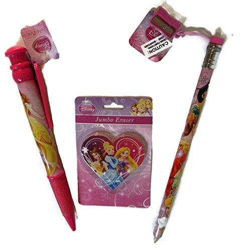 Disney Princess Jumbo Pen and Pencil Bundle 4 Items Includes Sharpener and Jumbo Eraser