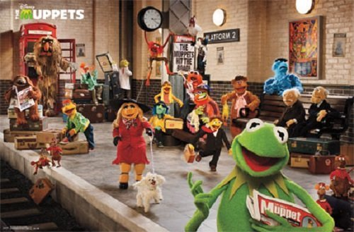 FRAMED The Muppets Most Wanted on Train Platform 34x22.5 Movie Art Print Poster Miss Piggy Kermit whole cast
