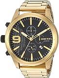 Diesel Men's Rasp Chrono 50mm Analog-Quartz Watch with Stainless-Steel-Plated Strap, Gold, 25.75 (Model: DZ4488)