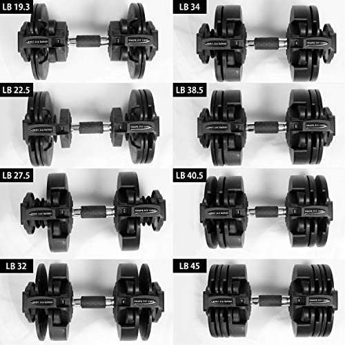 ShapeFitCore Adjustable Dumbbell 45 lbs with Weight Plate for Home Gym - Fitness Weights with Turning Handles for Desired Weights for Full Body Workout and Fitness Training [1pcs]