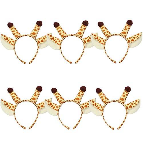 ANDES 6pcs Christmas Cute Giraffe Ears Headband Christmas Antler Headband (B) ()