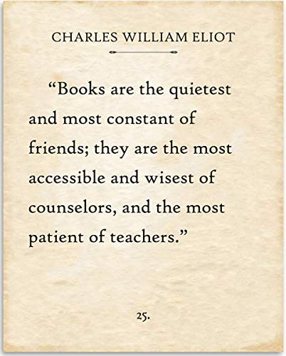 Charles William Eliot - Books Are. - 11x14 Unframed Typography Book Page Print - Great Gift for Book Lovers, Also Makes a Great Gift Under $15