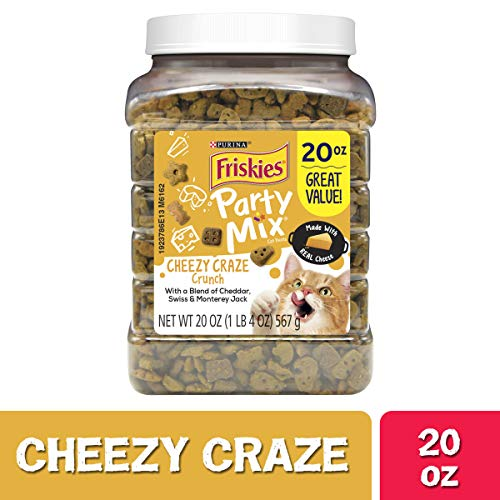 Purina Friskies Made in USA Facilities Cat Treats, Party Mix Cheezy Craze Crunch - 20 oz. Canister (Cat Party)
