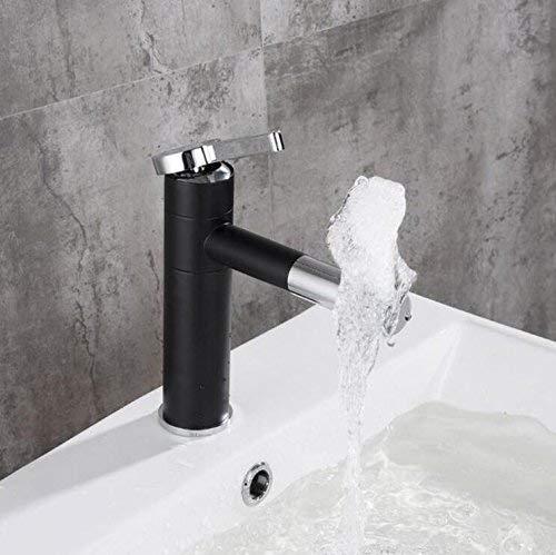 JingJingnet 流域ミキサータップ360度回転型流域蛇口黒と銀クローム仕上げ浴室の蛇口片手浴室 (Color : A) B07R4F4PQY A
