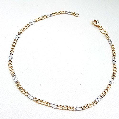 Bracelet chaîne à maille alternée en Or Jaune et Blanc 18 Cts 750/000-18kgold bracelet