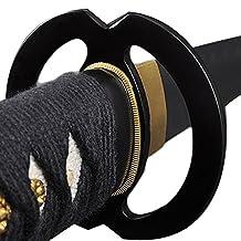 Christmas Sale – Japanese Samurai Katana Sword, Practical, Hand Forged, 1060 Carbon Steel, Heat Tempered, Full Tang, Sharp, Black Wooden Scabbard