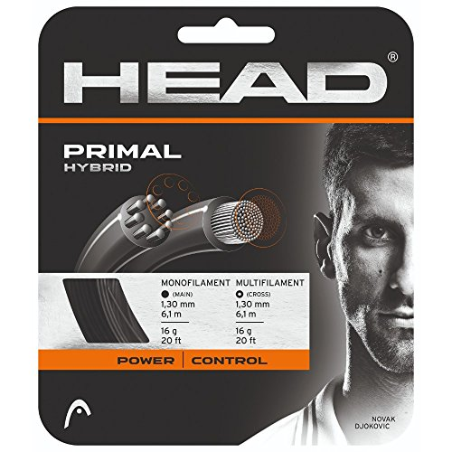 Hybrid Tennis String - HEAD Primal 16g Dark Grey/Black Tennis String