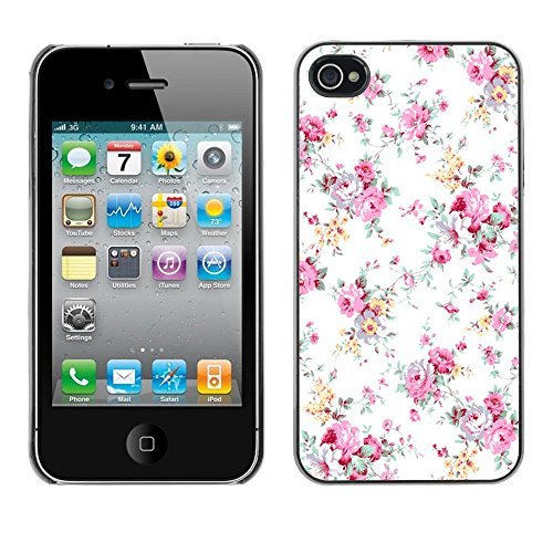 ( Old School Retro Vintage Floral Art ) APPLE iPhone 4 / 4S Hard Printing Protective Cover Protector Sleeve Shell Case Cover