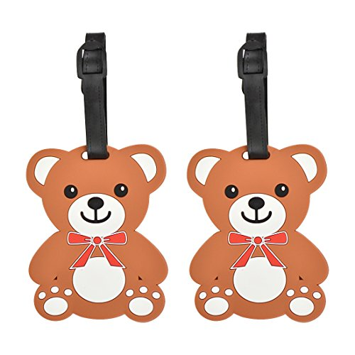 Animal Luggage Tags Cute Suitcase Labels (Set of 2) (Teddy)