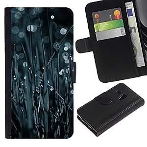 Protector de cuero de la PU de la cubierta del estilo de la carpeta del tirón BY RAYDREAMMM - Samsung Galaxy S3 MINI 8190 - Hierba Bokeh