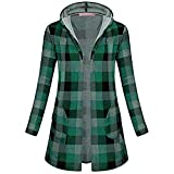 WOCACHI Final Clear Out Womens Plaid Outerwear Long Sleeve Hooded Open Front Coat with Pockets Black Friday Cyber Monday Sweatshirt Autumn Bottoming Shirts Checkered Lattice (Green, Small)