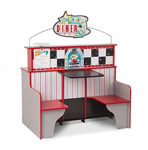 Melissa & Doug Star Diner Restaurant, Play Set & Kitchen, Wooden Diner Play Set, Two Play Spaces in One, 35' H x 23' W x 43.5' L