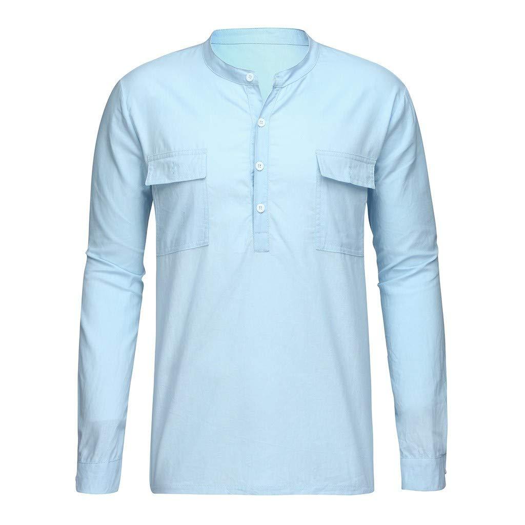 Camisa de Manga Larga de Algod/ón y Lino En Color Liso Camiseta con Cuello En V Camiseta Subfamily Camisa de Hombre
