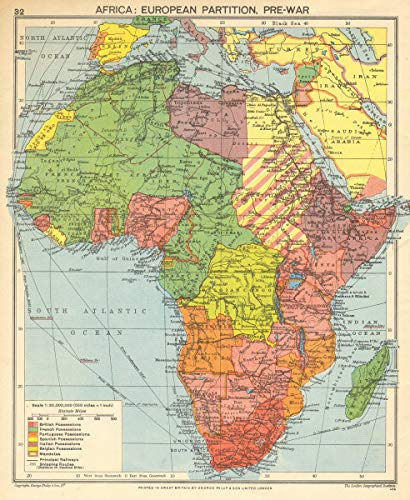 Partition Of Africa Map.Amazon Com Pre Second World War Africa European Colonies