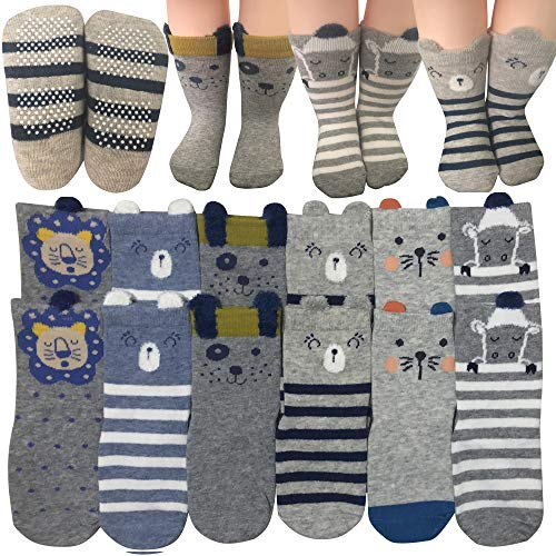 6 Pairs Toddler Non Skid Anti Slip Crew Socks With Grips For 1-3T Baby Boys Ankle Walker Cartoon Footsocks Sneakers…