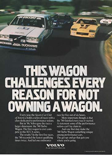 Magazine Print Ad: 1986 Volvo Turbo Wagon, SCCA Race,
