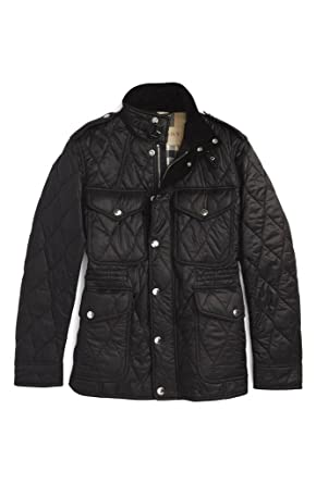 Burberry Garrington Leather Trim Diamond Quilted Field Jacket In